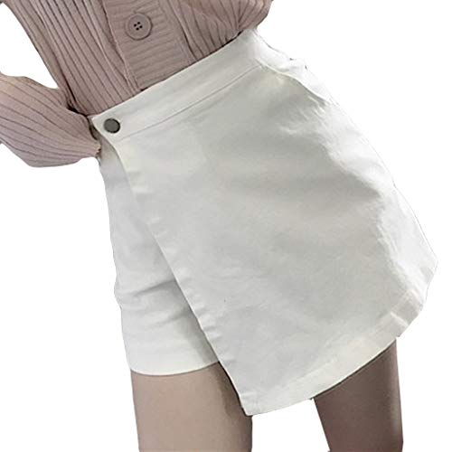 NPRADLA Damenrock Lässig Sommer Freizeit Shorts Hot Pants Knopf Culottes Hohe Taille Reine Farbe Frau Hipster Skinny Shorts(L,Weiß) -