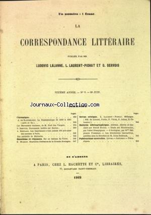 CORRESPONDANCE LITTERAIRE (LA) [No 8] du 25/06/1862