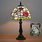 Tiffany Stil Schreibtischlampe 8 Zoll Warme Lichtfarbe Glas Tischlampe für Wohnzimmer Schlafzimmer Schreibtisch Restaurant Studie Kinderzimmer Hotel Nacht,Resinbase