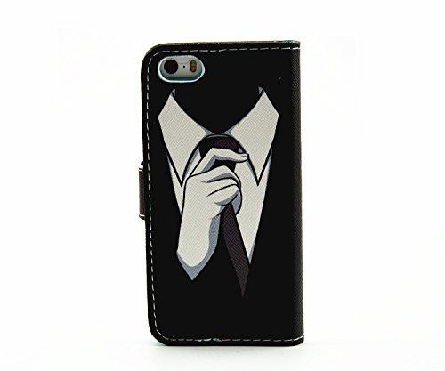 Etsue pour iPhone SE,iPhone 5/5S, Coque de cuero con soporte Carcasa Tapa Case Cover pour iPhone SE,iPhone 5/5S,Housse en cuir Cas magnétiques compartiments cartes de serrure Cover Shell Case pour iPh homme