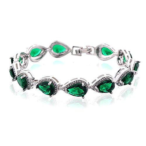 GULICX Smaragd Farbe Tropfen Zirkonia CZ Tennisarmband Silber-Ton Grün Kristall Kette Armband (Grün Armband)