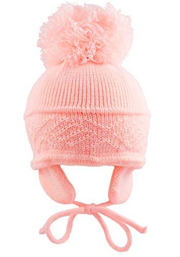 Pesci Baby Pom Pom Hat Diamond Pattern (0-3 Months, Pink)