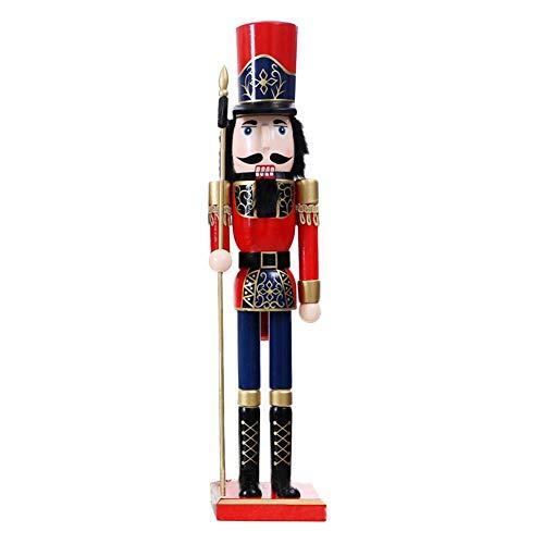 keruite 1pcs 60cm Ornamenti di burattini dello schiaccianoci, Artigianato di Legno Fatti a Mano Regalo di Natale per la Decorazione della Stanz