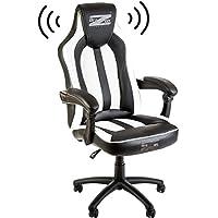 Soundchair, Gamer Stuhl mit Sound System, Gaming Stuhl Bluetooth, Multimediastuhl mit Lautsprechern für Gamer, Music Gaming Bluetooth Racing Chair in Schwarz / weiß