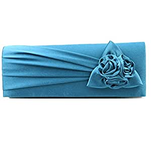 3b34a3821ca2 ETIAL Womens Satin Pleated Big Flower Evening Party Clutch Bag Green ...