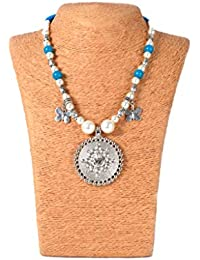 Nishuj Fashion's Glass Bead Oxidized Jewellery Set With Matching Hook-Drop Jhumka Earring Sky-Blue & Silver Metallic...