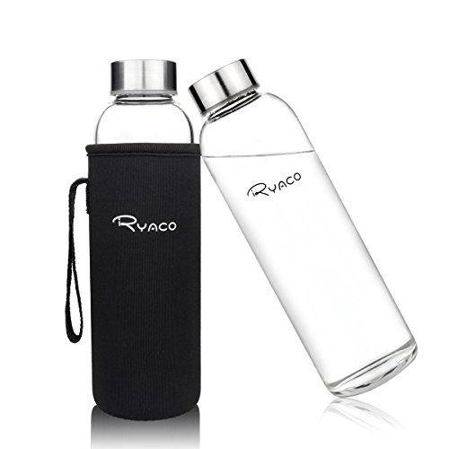 Ryaco Glasflasche Trinkflasche Classic 550ml BPA-frei Glasflasche für Unterwegs Sport Flasche Glas Flasche Water Bottle Wasserflasche Trinkflasche aus Glas zum Mitnehmen heiß kalt Getränke Perfekt für Yoga, Wandern, Büro (Schwarz)