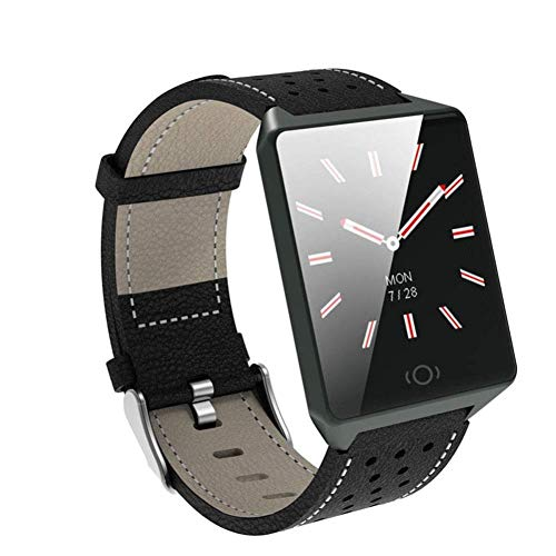 Qonei Reloj Inteligente Batería de Larga duración, rastreador de Actividad a Prueba de Agua con podómetro, Pulsera Elegante e Inteligente para niños, Mujeres y Hombres (Color : Negro)