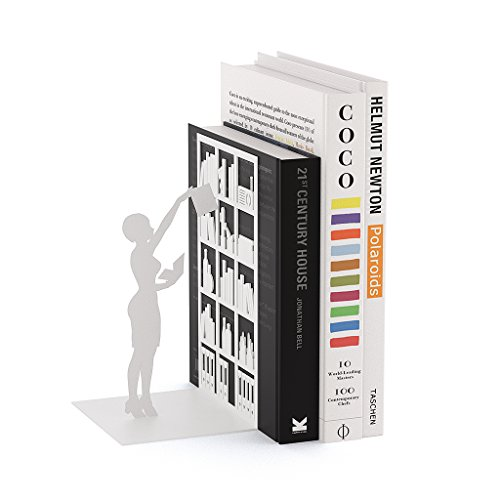 Balvi Buchstütze The Library Weiß Farbe Dekorativ Metall