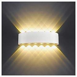 Applique Murale Interieur LED 12W Blanc Lampe Murale Moderne, IP65 Étanche appliques murales exterieures en Aluminium, Up Down Spot Lampe pour Salon Chambre Hall Escalier Pathway (Blanc Chaud)