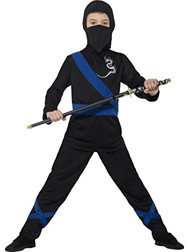 Smiffy's 21073S - Kinder Jungen Ninja Assassin Kostüm, Kapuze, Maske, Oberteil und Hose, Alter: 4-6 Jahre, (Re 6 Kostüme)