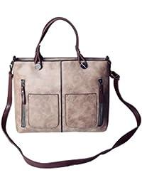 Pink : YUAN High Quality Women Elegant Female Bag New Double Pocket Design Oblique Messenger Square Shoulder Bag...