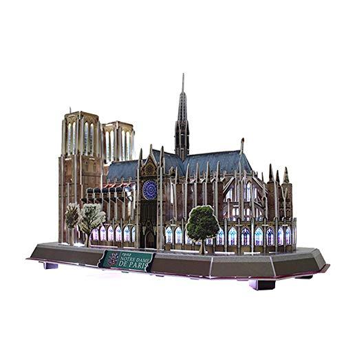 Rubyu Notre Dame 3D Holzblock Model Puzzle 3D Puzzle LED Spielzeug Architektur Kits Paris Notre Dame Kathedrale Dekoration und Kunstsammlung