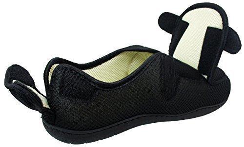 Surf 4 Shoes Hombre Mujer Muy Ancho E / 5e SE Abre Pierdas Plano Espuma Viscoelástica Cierre Adhesivo Zapatillas Antideslizante EN Negro O Tartán - Negro, 46