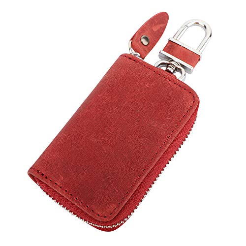 MoKo Car Key Case, Retro Wax Leather Car Smart Keychain Coin Fob Punch Holder Wear-Resistant Key Zipper Bag with Metal Hook, Support Remote Control - Wine Red -