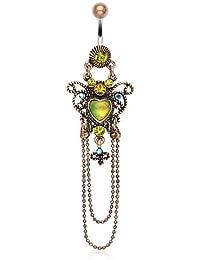 Kultpiercing–Piercing para ombligo Vintage colgante de oro Heart/corazón ombligo Rose