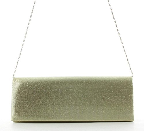 JSI Damen Schultertasche Clutch Abendtasche 11124 Schwarz Gold