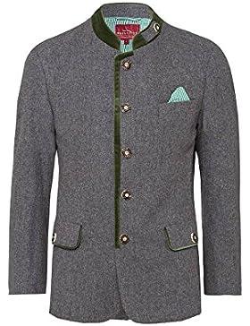 Edelheiss MOSER Trachten Lodenjacke grau grün inkl. Einstecktuch 004564, Material Schurwolle, Stehkragen