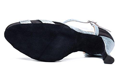 TDA ,  Damen Durchgängies Plateau Sandalen mit Keilabsatz Schwarz/Silberfarben