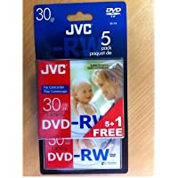 JVC DVD-RW, 1,4 GB, 8cm, 30min, Pack 5 +1 in Jewel Case,Handycam Mini DVD,DVD-RW