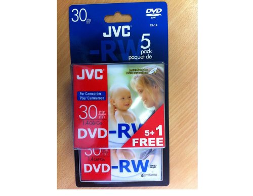 JVC DVD-RW, 1,4 GB, 8cm, 30min, Pack 5 +1 in Jewel Case,Handycam Mini DVD,DVD-RW