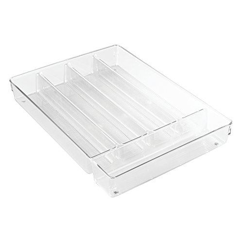 InterDesign Linus Cutlery Tray for Silverware, Large Kitchen Accessories for Storage and Organising, Made of Durable Plastic, Clear