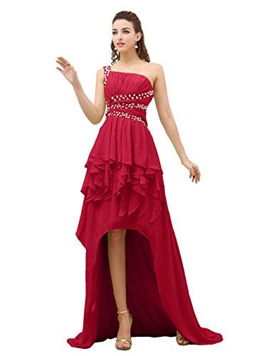 Dressystar Robe de soirée Longue,à Une Bretelle,asymétrique, en Mousseline Rouge Foncé