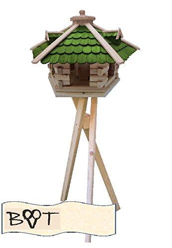 Vogelhaus, XXL Vogelvilla Vöglehus Vogelhäuser Großes Vogelhaus, aus Holz SG50grMS mit Ständer Futterhaus GRÜN