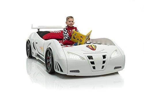Autobett Kinderbett Whitecar in weiß mit Spoiler Lattenrost