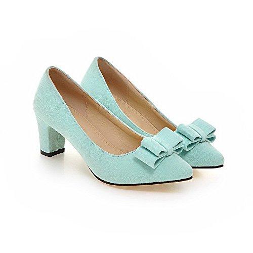 VogueZone009 Femme Dépolissement Fermeture D'Orteil Pointu à Talon Correct Tire Chaussures Légeres Vert