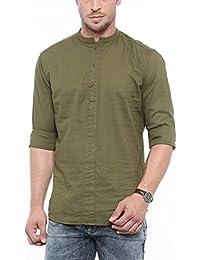 SHOWOFF Mens Green Solid Casual Shirts