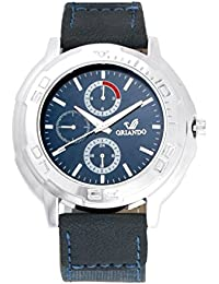 Orlando® Branded Japan Movement Chronograph Look With Blue Dial & Blue Leather Belt Watches For Men - W1275BUSBU