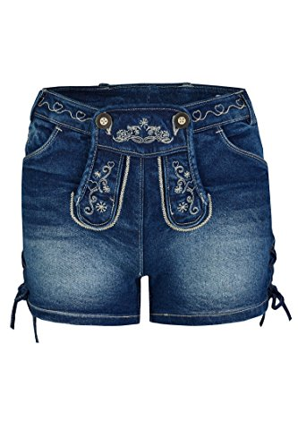 Damen Stretch Trachtenjeans Johanna (Gr. 30-44) Kurze Jeans mit Lederhosenoptik