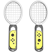 DYTesa 2pcs/Set Tennis Racket For Switch Joy-Con Controller Left And Right Handle For M Ario Tennis Aces Game,Gray