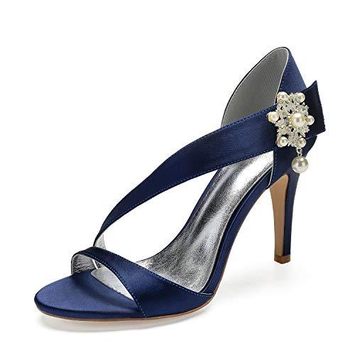 JRYYUE Frauen Hochzeit Schuhe Satin Strass Peep Toe Plattform Brautjungfern Mode Low Heels 10.5 cm,DarkBlue,39 Low Heel Satin-heels