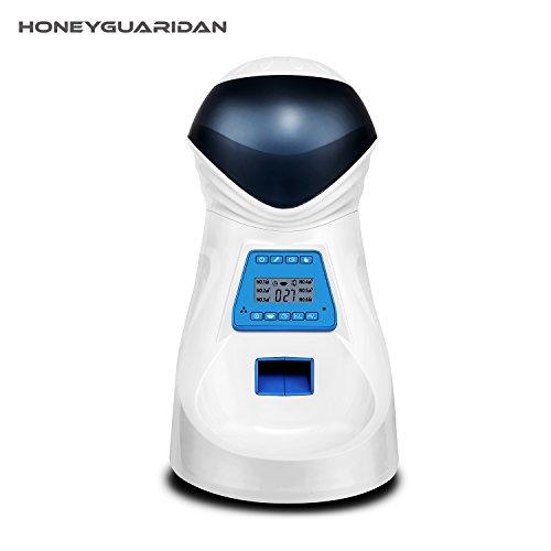 HoneyGuaridan A25 Futterautomat, Automatischer Futterspender mit akustischer Benachrichtigung und Timer Funktion, 6 Mahlzeiten für Hunde ( Mittel und Klein ) und Katzen.