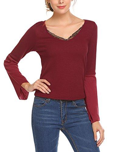 Parabler Damen Elegant Langarmshirts Spitzenshirt mit V-Ausschnitt Oberteile Tunika Bluse mit Tops Floraler Spitze und Trompete Ärmel Rot