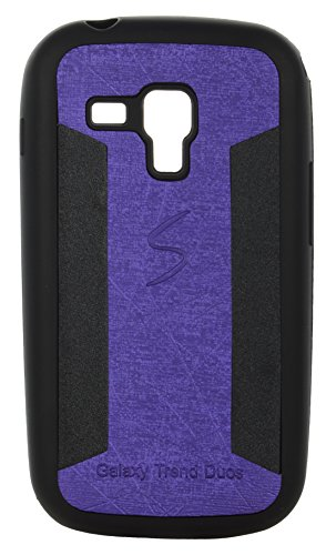 iCandy™ 2 Color Soft Lather Finish Back Cover For Samsung Galaxy S Duos S7562 / S7582 - Purple  available at amazon for Rs.115