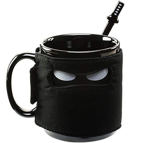 ein Desire Ninja Becher Schwarze Maske Keramik Becher mit Löffel Schwert und Schwert Achterbahn ()