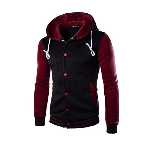 VENMO Männer Mantel Jacke Outwear Pullover Winter Slim Hoodie Warm Hooded Sweatshirt (M, Wine) (Zurück Pullover)