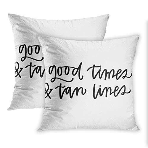 Nekkzi Cushion Covers Set of Two Print Quote Good Times and Tan Lines Summer Cursive Enjoy Sofa Home Decorative Throw Pillow Cover 18x18 Inch Pillowcase Hidden Zipper - Tanning Blend