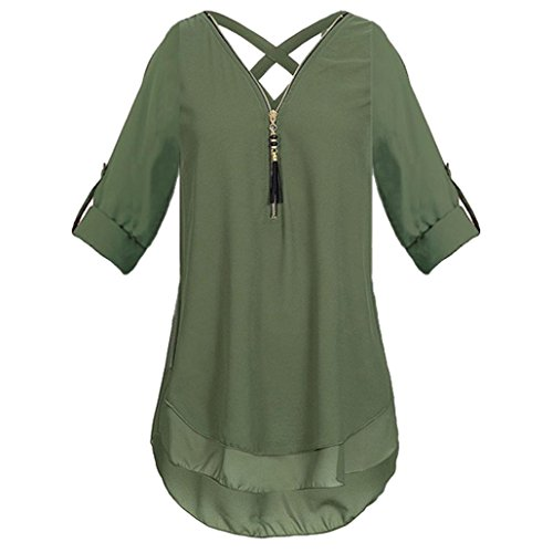FNKDOR Summer New Style Womens Concert Dating Elegant Cool V Neck Zipper Pure Color Chiffon T-Shirts Casual Loose Tops Tunic Blouse