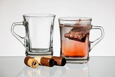 Set of 4 Clear Glass Coffee Tea Mugs with a handle 250 ml Geo