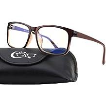 CGID CT12 Gafas para Protección Contra Luz Azul, Anti Fatiga por Deslumbramiento, Previene Dolores de Cabeza o Fatiga Visual, Gafas Seguros para Computadora/Celular,Vintage Rectangular Negro, Lentes Transparente