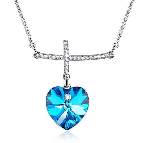 DEQIAODE Unendlich Liebe Gottes Frauen Herz Kristalle Kreuz Anhänger Halskette mit Swarovski Elementen gemacht