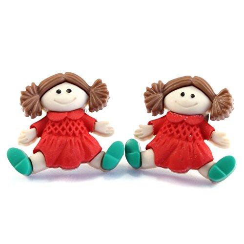 TFB-Funky Vintage rojo muñeca de trapo juguete Stud Pendientes Quirky Retro divertido de la novedad regalo Kitsch