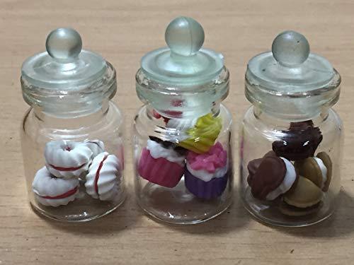 e Miniatur-Flasche für Schokolade, Kekse, Kuchen, Puppenhaus, Donut, Süßigkeiten, Brot, aus Klarglas, für Obst etc, MF081 ()