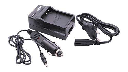 vhbw Schnellladegerät Ladekabel Ladeschale inkl Kfz-Adapter für Akku LB-070 wie Kamera Kodak Pixpro S1, Pixpro S-1.