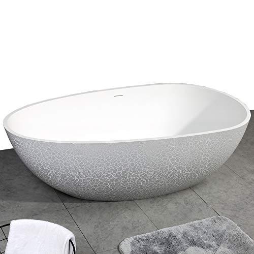 Freistehende Badewanne aus Mineralguss OCEANIA - 170x85cm - Bruchsteinoptik grau matt