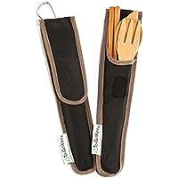 To-Go Ware Reise-Utensilien aus Bambus, mit Tragetasche, Hijiki